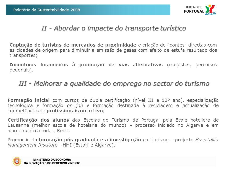 II - Abordar o impacte do transporte turístico