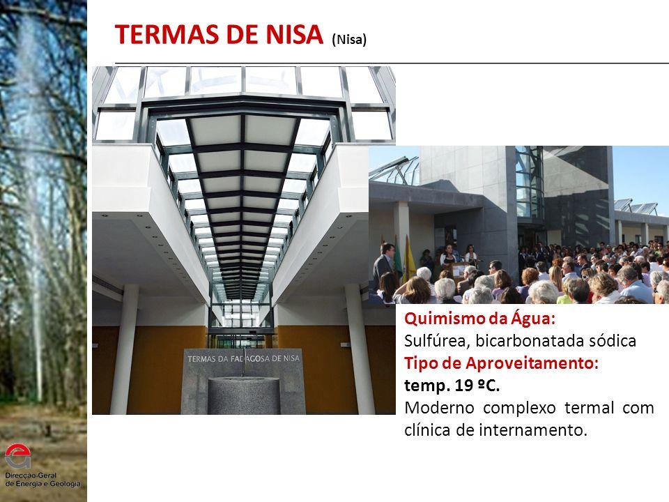TERMAS DE NISA (Nisa) Quimismo da Água: Sulfúrea, bicarbonatada sódica