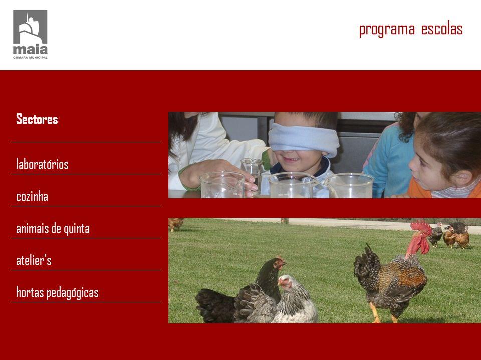 programa escolas Sectores laboratórios cozinha animais de quinta