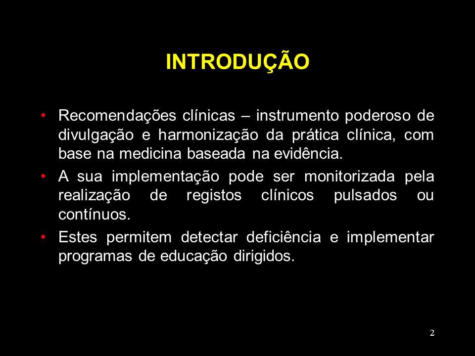 INTRODUÇÃO Recomendações clínicas – instrumento poderoso de divulgação e harmonização da prática clínica, com base na medicina baseada na evidência.