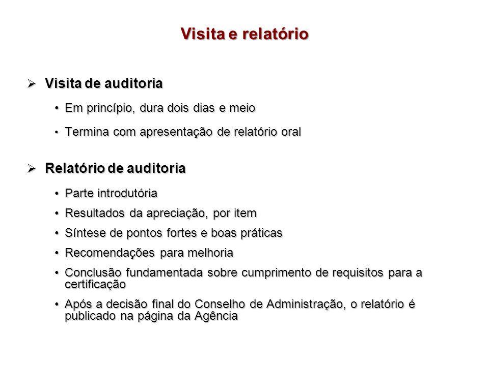 Visita e relatório Visita de auditoria Relatório de auditoria