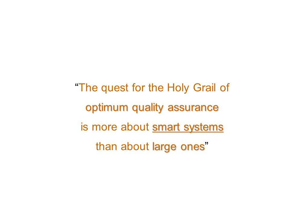 The quest for the Holy Grail of optimum quality assurance
