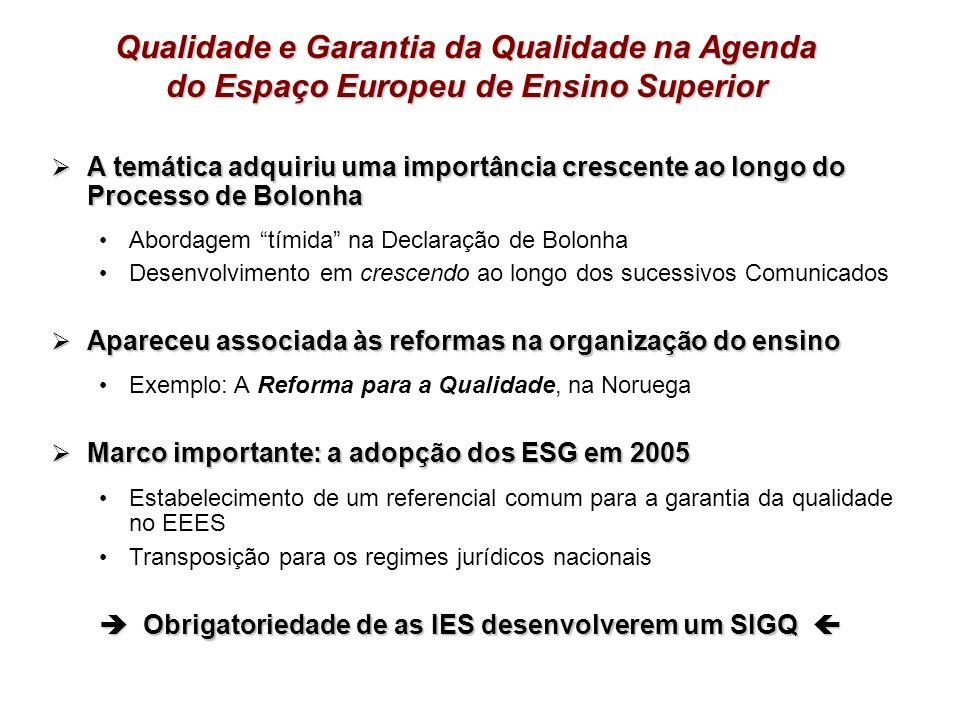 Qualidade e Garantia da Qualidade na Agenda do Espaço Europeu de Ensino Superior