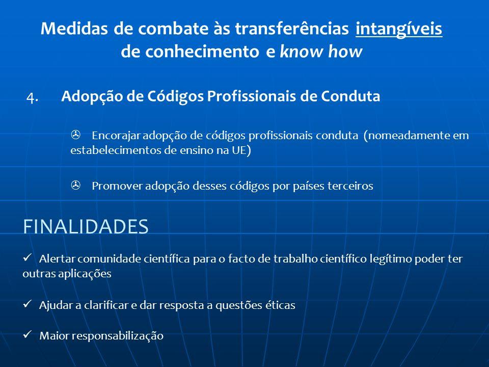 Medidas de combate às transferências intangíveis de conhecimento e know how