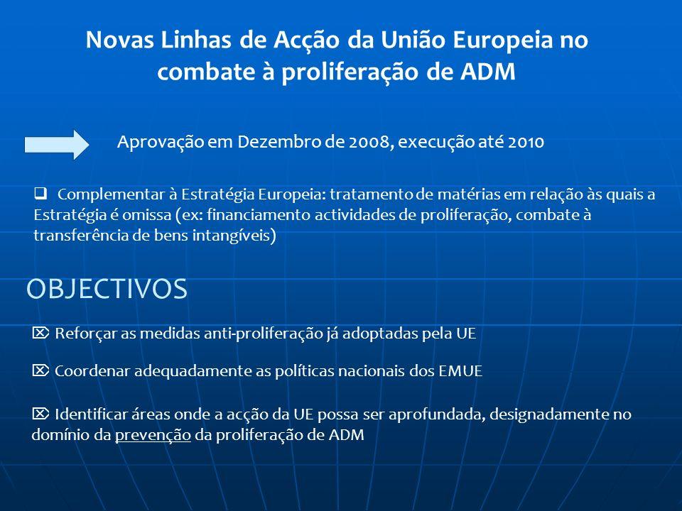 Novas Linhas de Acção da União Europeia no combate à proliferação de ADM