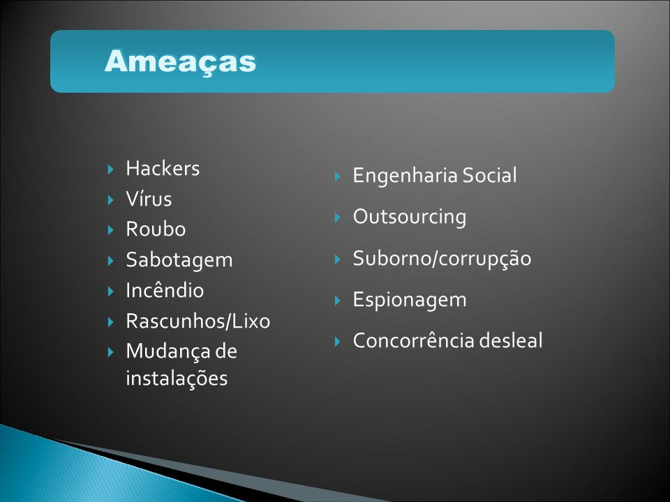 Ameaças Hackers Vírus Roubo Sabotagem Incêndio Rascunhos/Lixo