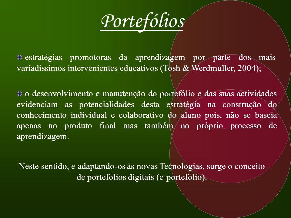 Portefólios estratégias promotoras da aprendizagem por parte dos mais variadíssimos intervenientes educativos (Tosh & Werdmuller, 2004);