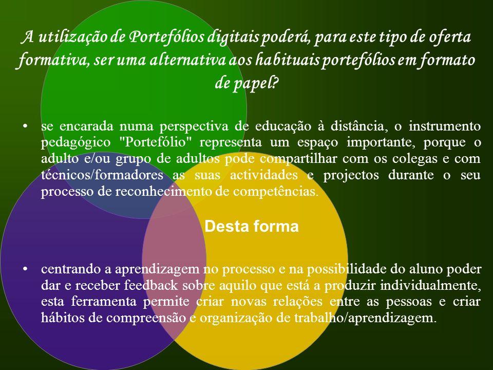 A utilização de Portefólios digitais poderá, para este tipo de oferta formativa, ser uma alternativa aos habituais portefólios em formato de papel