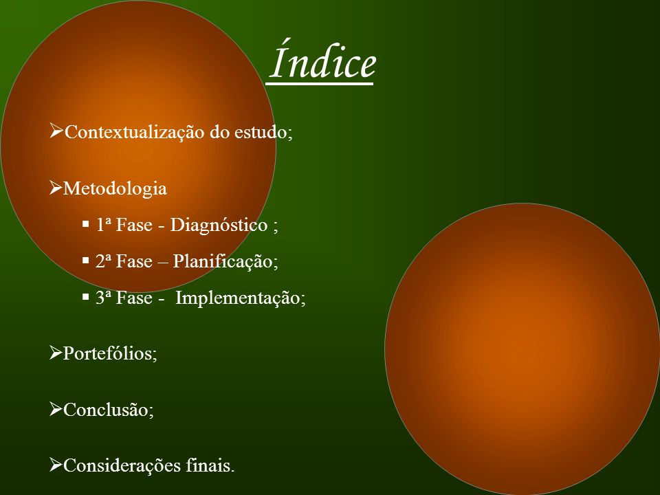 Índice Contextualização do estudo; Metodologia 1ª Fase - Diagnóstico ;