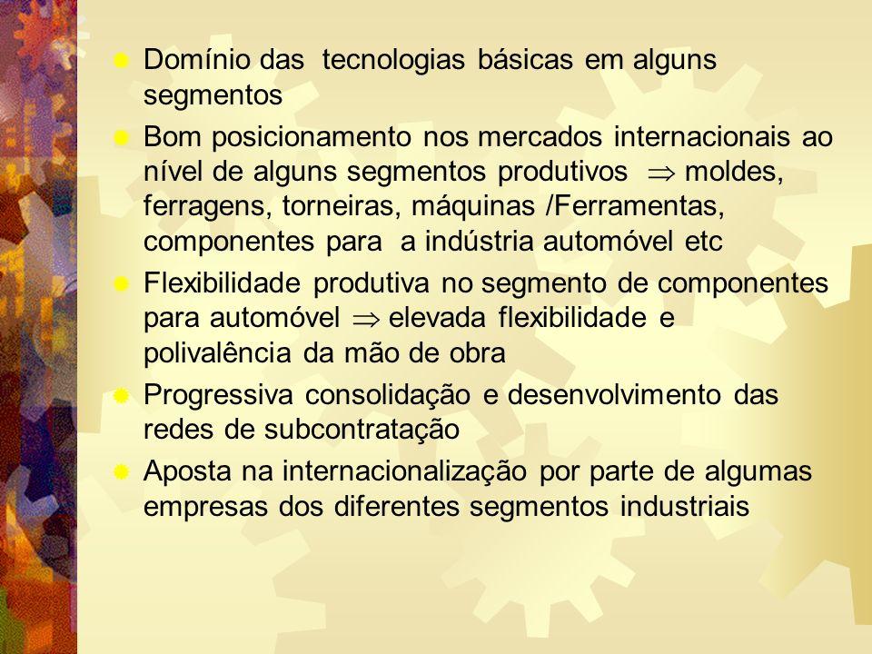 Domínio das tecnologias básicas em alguns segmentos