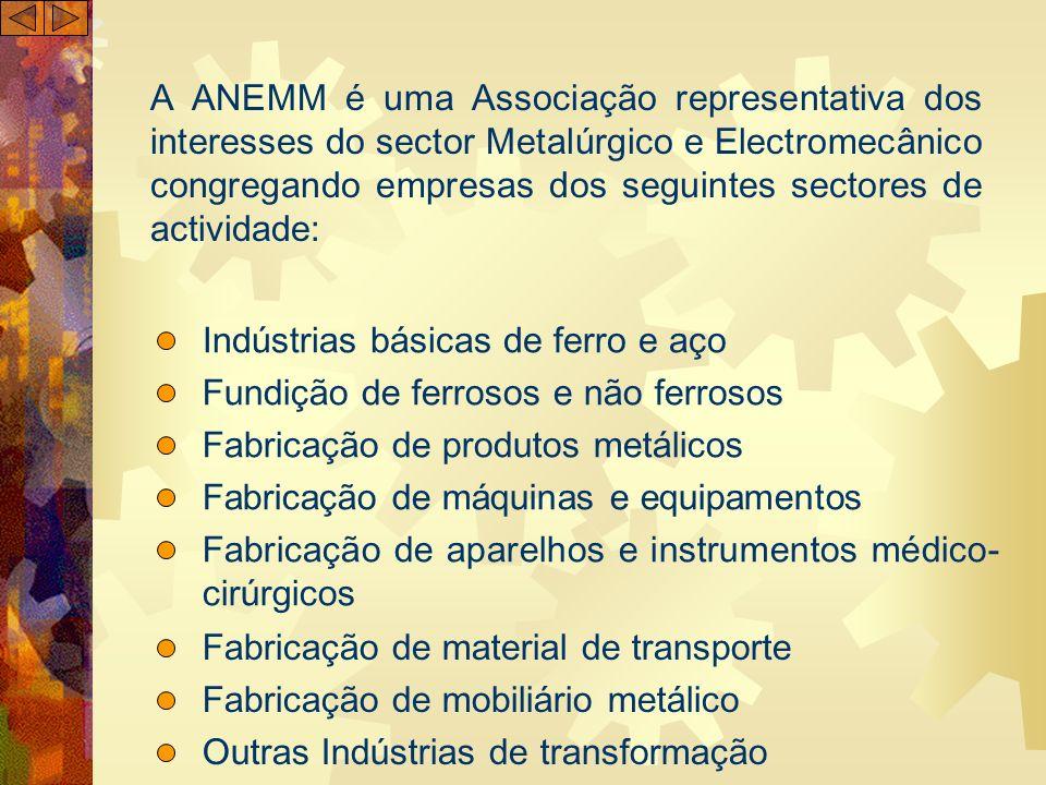 A ANEMM é uma Associação representativa dos interesses do sector Metalúrgico e Electromecânico congregando empresas dos seguintes sectores de actividade: