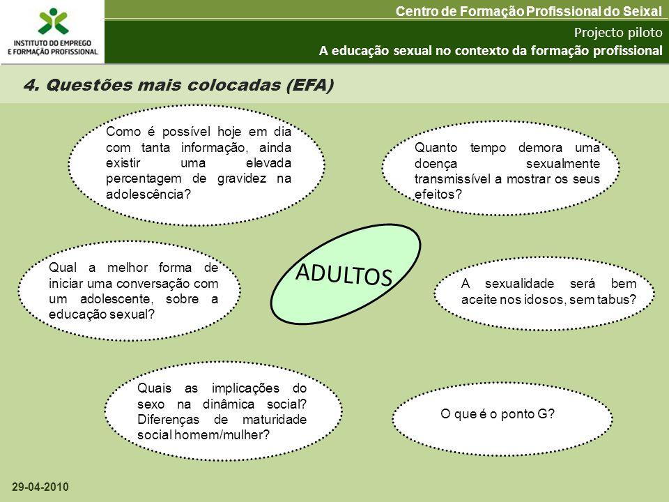 ADULTOS 4. Questões mais colocadas (EFA) Projecto piloto