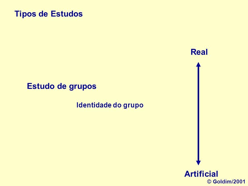 Tipos de Estudos Real Estudo de grupos Artificial Identidade do grupo