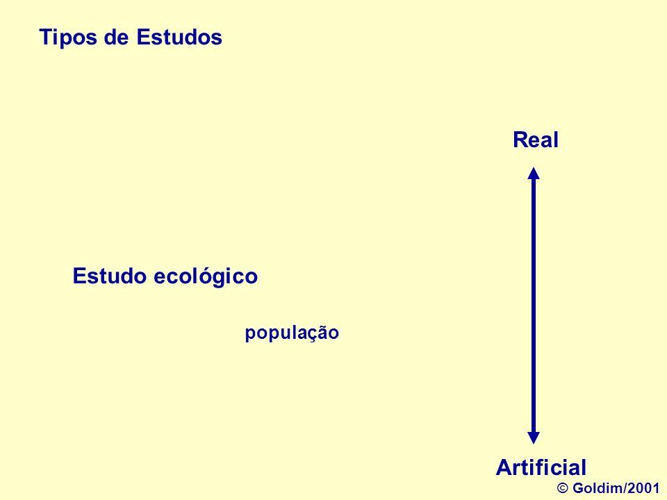 Tipos de Estudos Real Estudo ecológico Artificial população