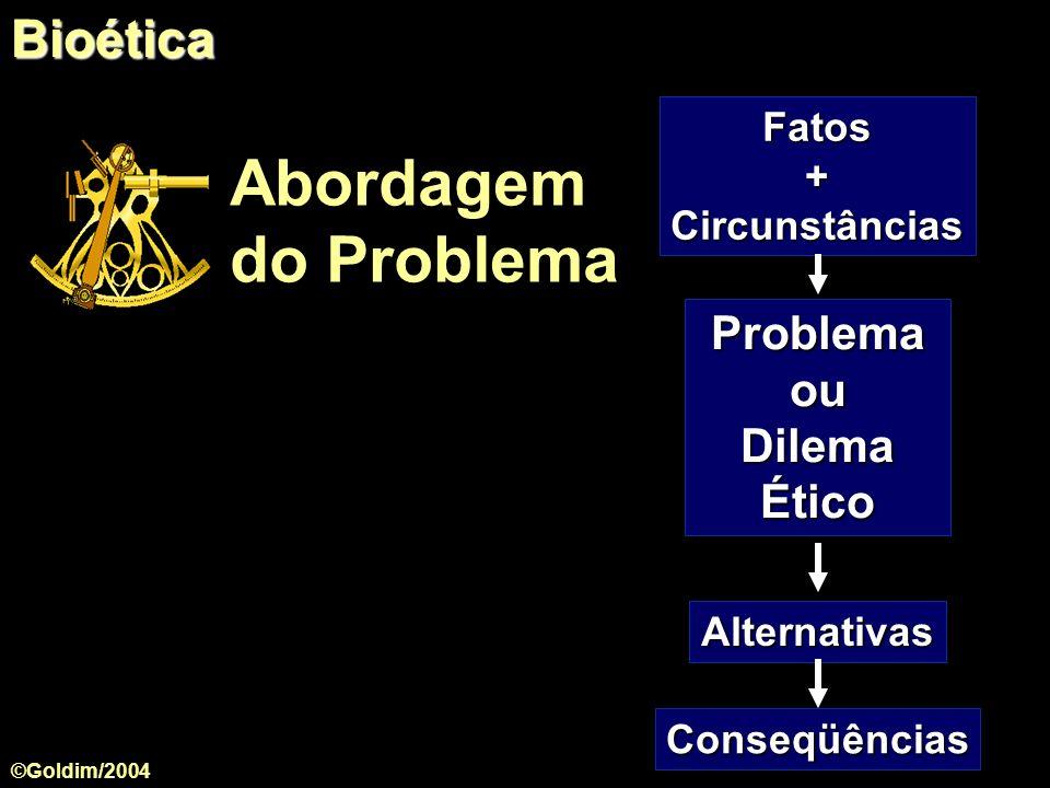Abordagem do Problema Bioética Problema ou Dilema Ético Fatos +
