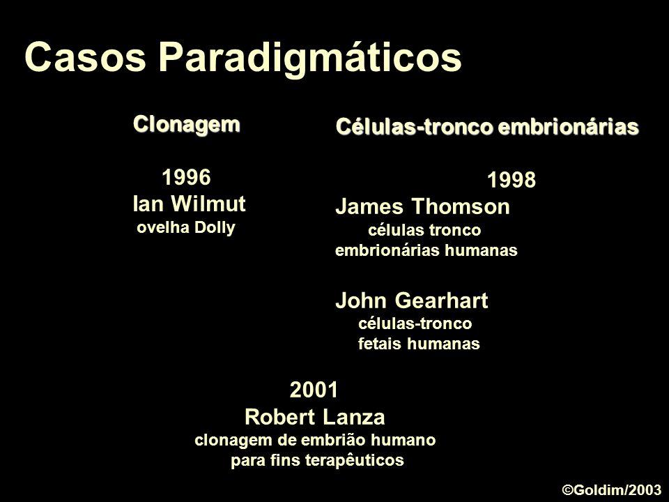 Casos Paradigmáticos Clonagem Células-tronco embrionárias 1996 1998