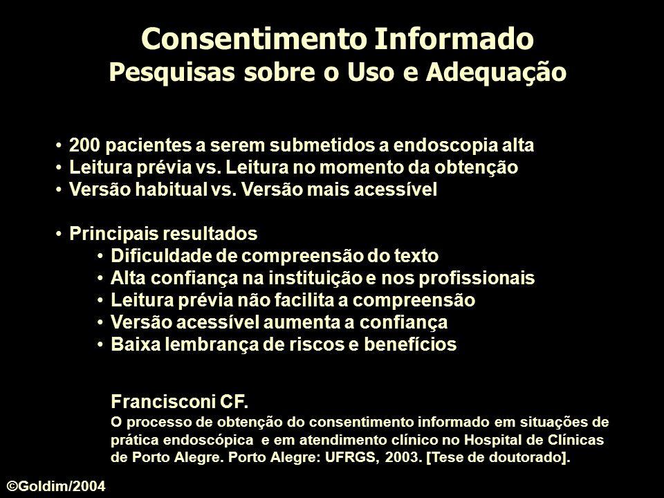 Consentimento Informado Pesquisas sobre o Uso e Adequação