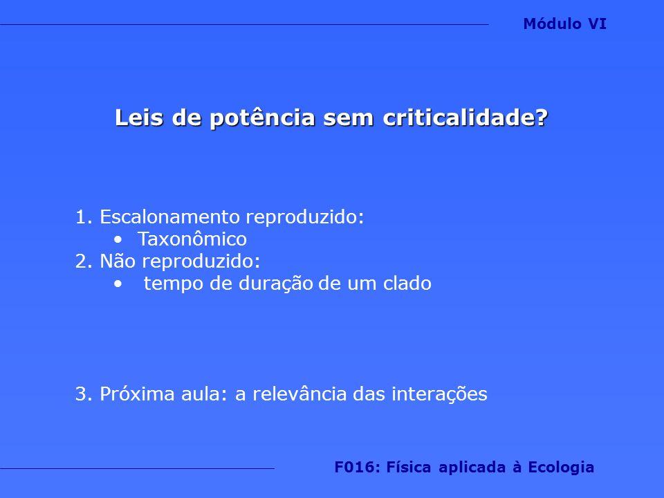 Leis de potência sem criticalidade F016: Física aplicada à Ecologia