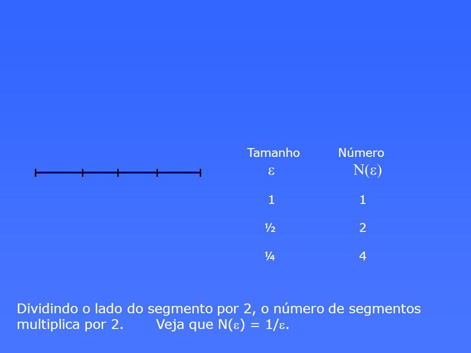 Tamanho Número e N(e) 1 1. ½ 2. ¼ 4.
