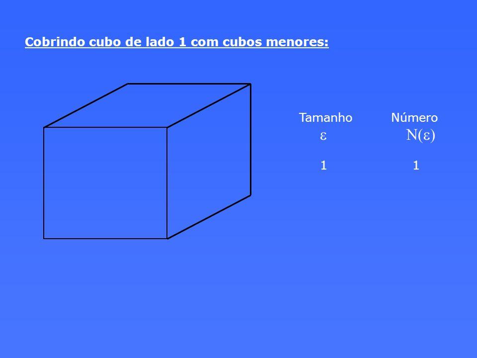 Cobrindo cubo de lado 1 com cubos menores: