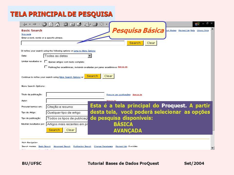 TELA PRINCIPAL DE PESQUISA Pesquisa Básica