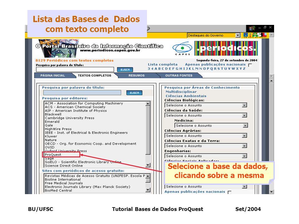 Lista das Bases de Dados com texto completo