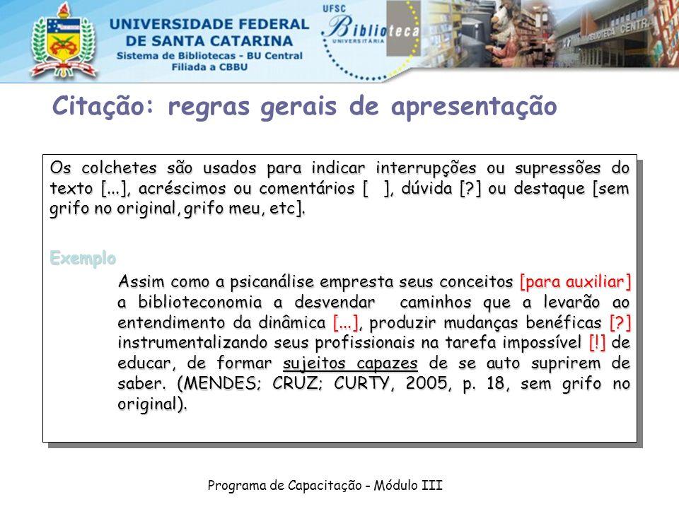 Programa de Capacitação - Módulo III