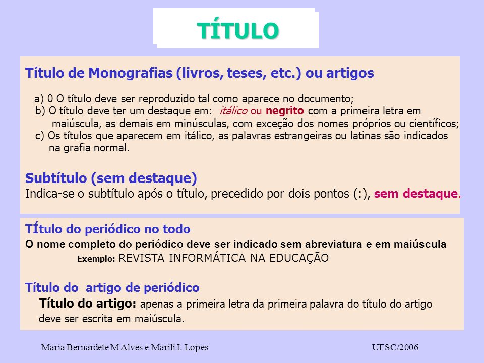 TÍTULO Título de Monografias (livros, teses, etc.) ou artigos
