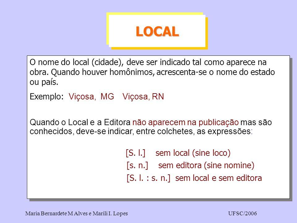 LOCAL O nome do local (cidade), deve ser indicado tal como aparece na obra. Quando houver homônimos, acrescenta-se o nome do estado ou país.