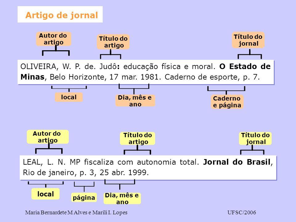 Artigo de jornal OLIVEIRA, W. P. de. Judô: educação física e moral. O Estado de Minas, Belo Horizonte, 17 mar. 1981. Caderno de esporte, p. 7.