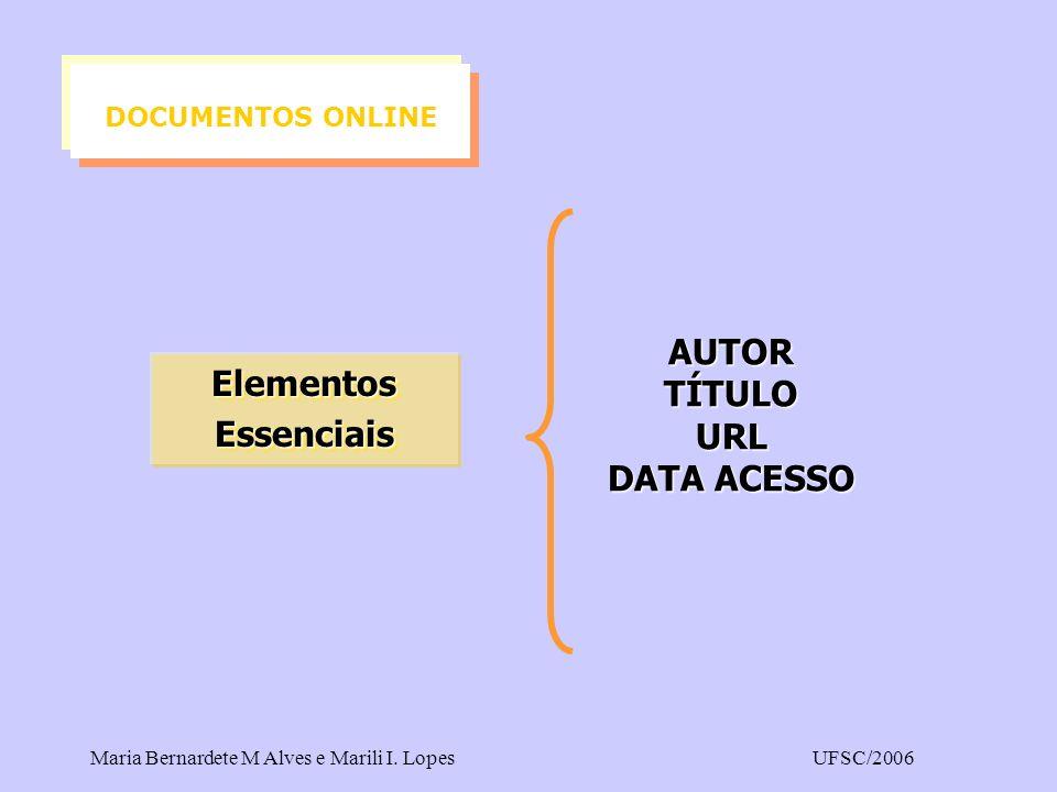 DOCUMENTOS ONLINE AUTOR TÍTULO URL Elementos DATA ACESSO Essenciais