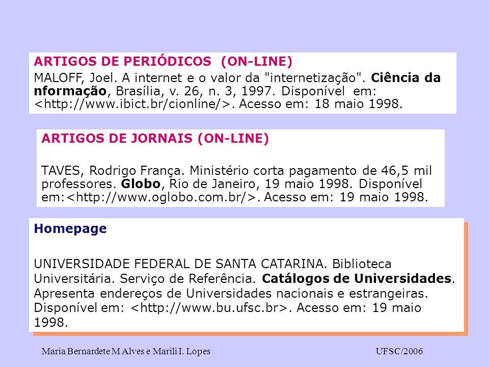 ARTIGOS DE PERIÓDICOS (ON-LINE)