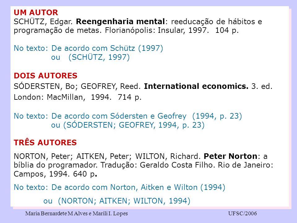 No texto: De acordo com Schütz (1997) ou (SCHÜTZ, 1997) DOIS AUTORES