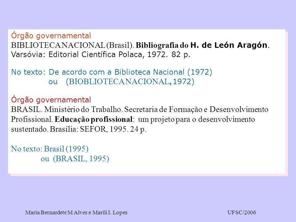 Órgão governamental BIBLIOTECA NACIONAL (Brasil). Bibliografia do H. de León Aragón. Varsóvia: Editorial Científica Polaca, 1972. 82 p.