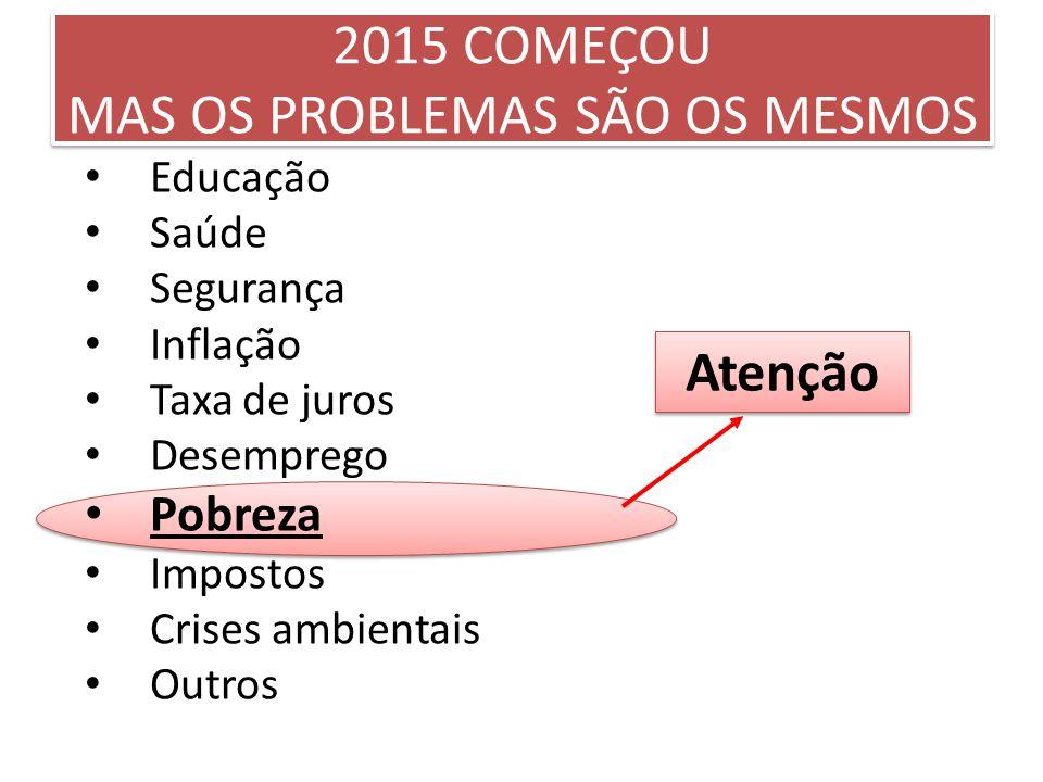 2015 COMEÇOU MAS OS PROBLEMAS SÃO OS MESMOS