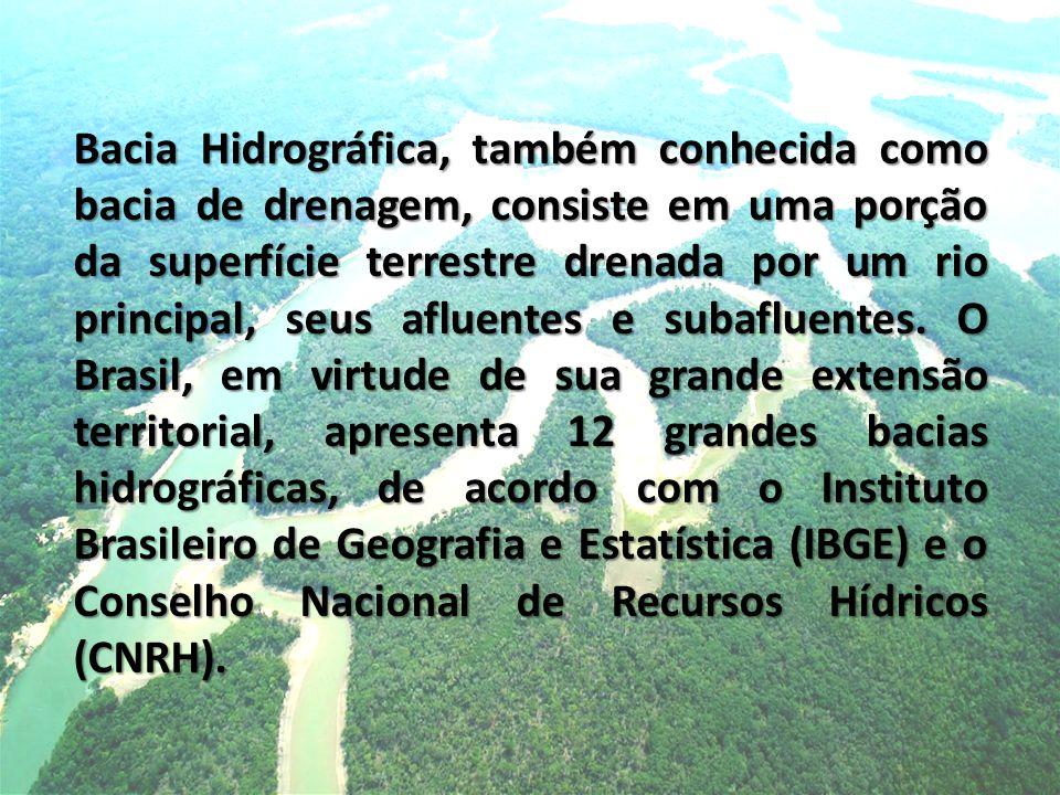 Bacia Hidrográfica, também conhecida como bacia de drenagem, consiste em uma porção da superfície terrestre drenada por um rio principal, seus afluentes e subafluentes.