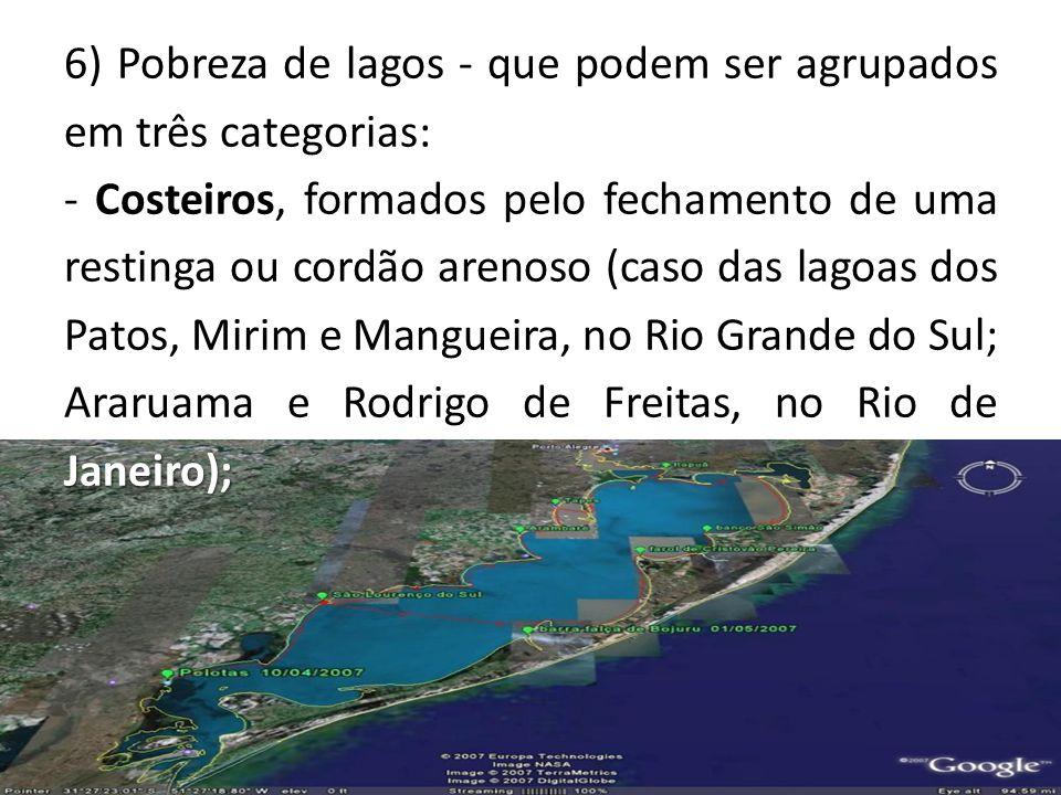 6) Pobreza de lagos - que podem ser agrupados em três categorias: