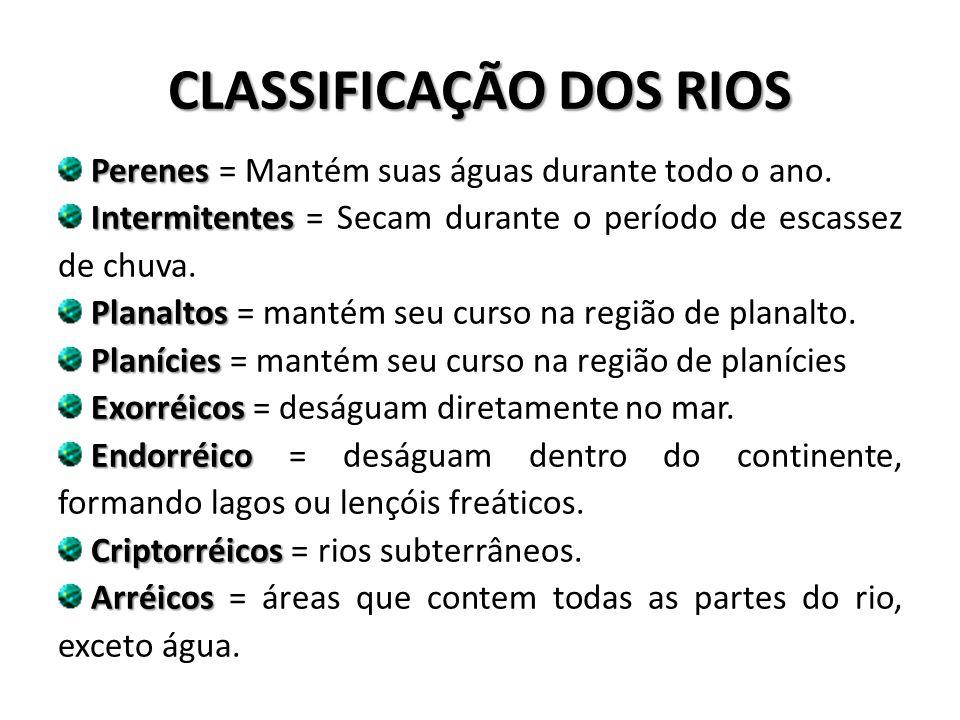 CLASSIFICAÇÃO DOS RIOS