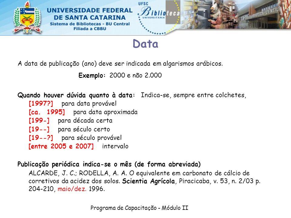 Programa de Capacitação - Módulo II
