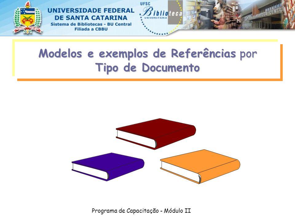 Modelos e exemplos de Referências por Tipo de Documento