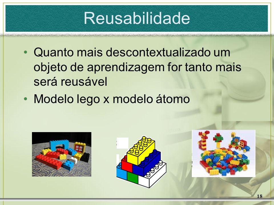 Reusabilidade Quanto mais descontextualizado um objeto de aprendizagem for tanto mais será reusável.
