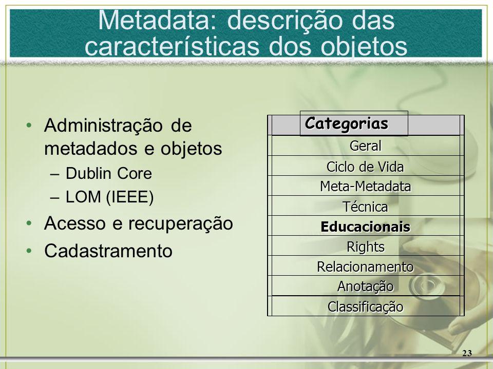 Metadata: descrição das características dos objetos