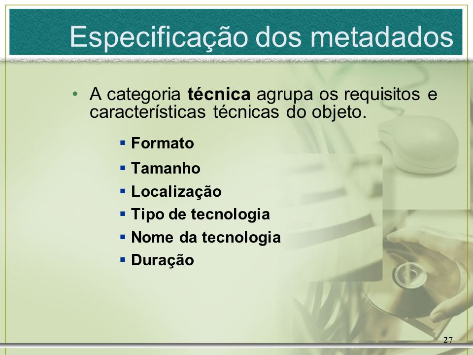 Especificação dos metadados