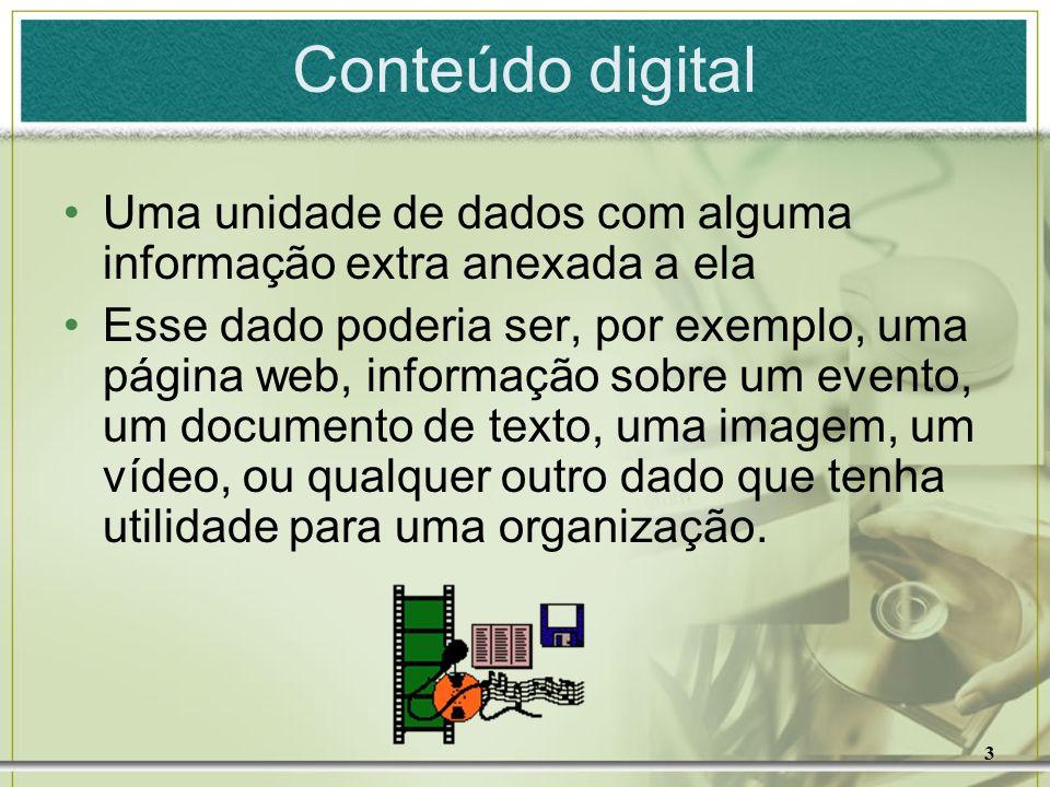 Conteúdo digital Uma unidade de dados com alguma informação extra anexada a ela.