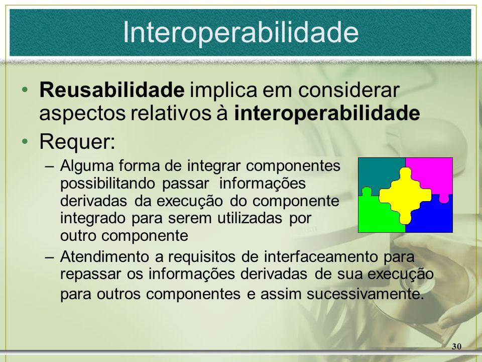 Interoperabilidade Reusabilidade implica em considerar aspectos relativos à interoperabilidade. Requer: