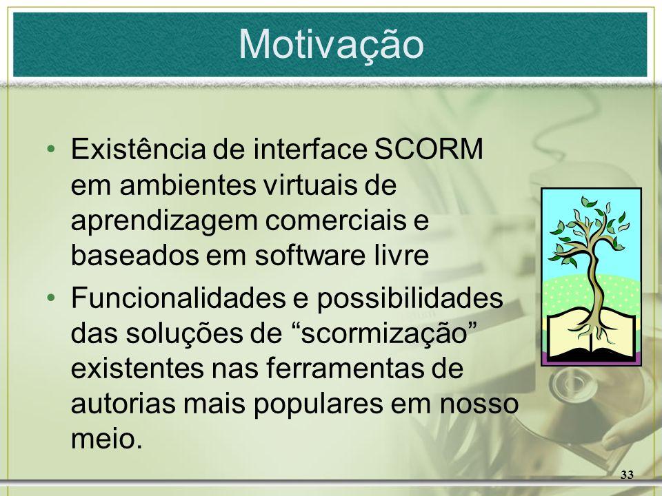 Motivação Existência de interface SCORM em ambientes virtuais de aprendizagem comerciais e baseados em software livre.