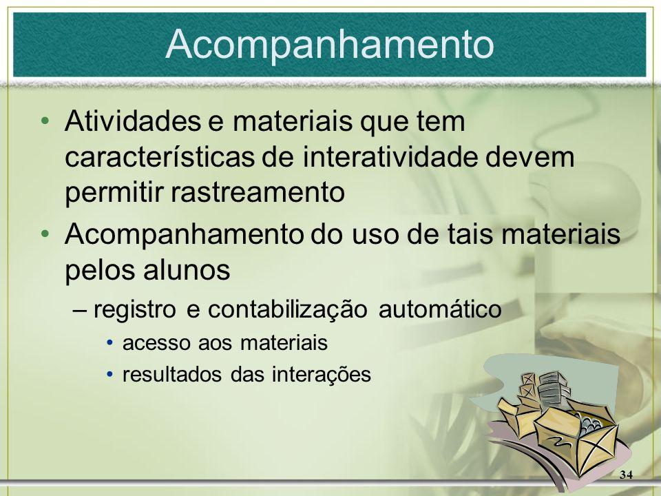 AcompanhamentoAtividades e materiais que tem características de interatividade devem permitir rastreamento.