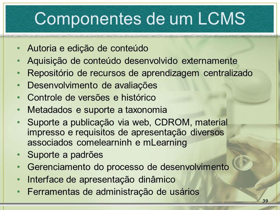 Componentes de um LCMS Autoria e edição de conteúdo