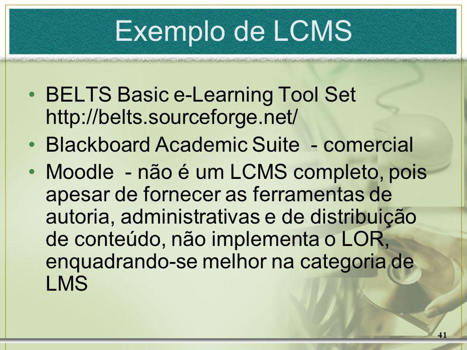 Exemplo de LCMSBELTS Basic e-Learning Tool Set http://belts.sourceforge.net/ Blackboard Academic Suite - comercial.