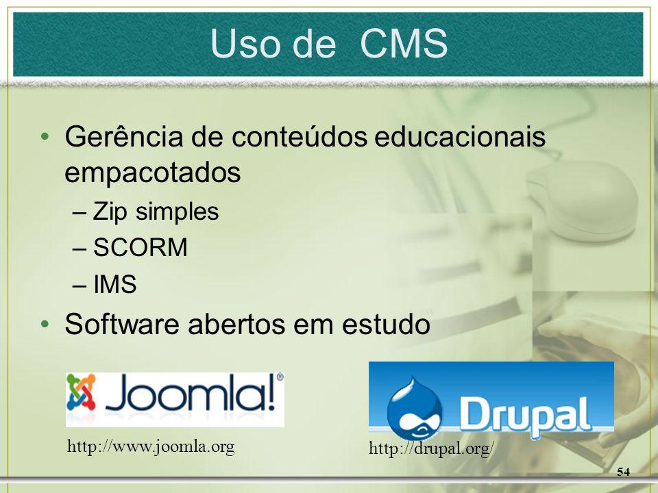 Uso de CMS Gerência de conteúdos educacionais empacotados
